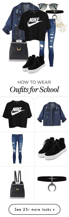 1. Cool for School by srybuttnotsry on Polyvore featuring J Brand, WithChic, NIKE, Ray-Ban and BP. (Top Moda)