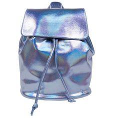 Blue Holographic Backpack (210 HRK) ❤ liked on Polyvore featuring bags, backpacks, holographic backpack, blue backpack, knapsack bags, backpacks bags and rucksack bag