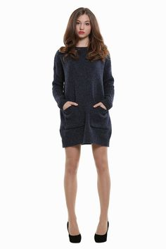 Retro Style Knitted Dress In Navy. Free 3-7 days expedited shipping to U.S. Free first class word wide shipping. Customer service: help@moooh.net