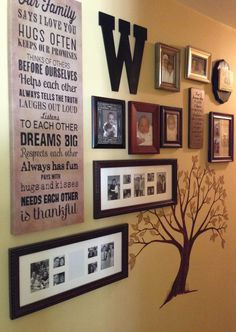 Family 'tree' for wall. Love the variety of all the items. Colors all flow but the varied materials add interest and will encourage people to stop and check it out. Could not locate original source.