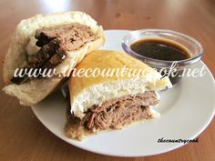 CROCK POT BEEF DIP SANDWICHES:  3-4 lb Round Steak (or any type of beef roast),  1 packet Onion Soup Mix, 1 packet Au Jus Seasoning, 15 oz can Broth, 1/2 C water. Put roast in slow cooker. Combine remaining ingredients, pour over beef. Cover, cook on low about 8 hrs. 1 hr before serving, shred or slice meat & return to cooker for 1 hr.