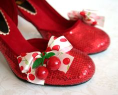 Cuter than cute sparkly red cherry and bow bedecked heels. *Love!* #heels #shoes #red #cherries #vintage #bows #cute #fashion #clothing