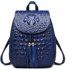 Fengyaqiandai 66810 Classic Embossed Ladies Luxury Leather Backpacks... ($153) ❤ liked on Polyvore featuring bags, backpacks, real leather bags, leather knapsack, backpack bags, croc bags and embossed leather backpack