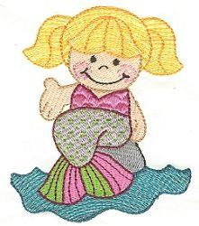 Sitting Mermaid 4x4 | Beach/Ocean | Machine Embroidery Designs | SWAKembroidery.com Designs by Juju