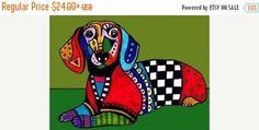 60% Off- Dachshund Art, Dachshund print, Dachshund Painting, Dachshund Gift, Doxie Dachshund Abstract, Dachshund Decor