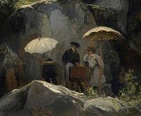 Détail du tableau Les Peintres sur le motif  dans la forêt de Fontainebleau par Jules Coignet -