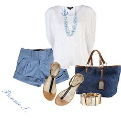 blue & white, created by bonnaroosky on Polyvore