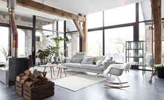 Industrial style with nordic flair- climbing rope on the right, access to mezzanine, maybe?