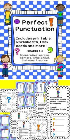 This punctuation activity book includes posters, practice worksheets, and task cards for students to use in the language arts classroom. These activities support the Common Core Standards and will help students practice their punctuation skills. These language arts activities can be used in writing centers, stations, or as whole class instructional materials.