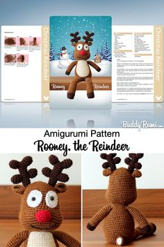 Rooney the reindeer, Christmas crochet amigurumi decor. Written amigurumi pattern, includes step by step tutorials with pictures. Crochet Disney, Crochet Decoration, Reindeer Christmas, Plush Animals, Amigurumi Doll, Xmas Decorations, Crochet Patterns, Crochet Hats, Kawaii