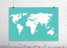 "World Map Poster - Sizes from 4x6"" to 36x48"" - Large World Map - Travel Art Print - Aqua and White Art - dorm, Travel nursery decor"