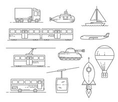 Free Transit Icon Set Icons AI Free Graphic Design Icon Outline Resource Transport Vector
