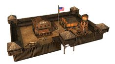 pictures of western forts - Bing images Wooden Fort, Forte Apache, Fort Western, Westerns, Planet Coaster, Sci Fi Weapons, Old Fort, Wargaming Terrain, Walled City