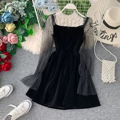Item specifics Silhouette: A-Line Waistline: empire Model Number: Decoration: Edgy Outfits, Cute Casual Outfits, Pretty Outfits, Pretty Dresses, Beautiful Dresses, Girl Outfits, Girls Fashion Clothes, Girl Fashion, Fashion Outfits