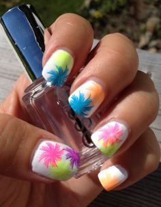 Neon swirls manicure....reminds me of the trees in The Lorax :)