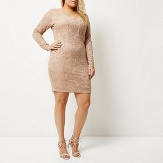 RI Plus – Pinkes, glitzerndes Bodycon-Kleid - Kleider - Sale - Damen
