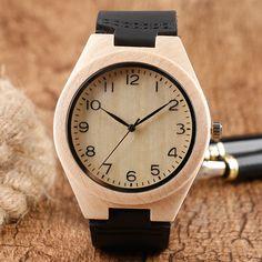 Creative Bamboo Wooden Watches Quartz Movement Wristwatche Genuine Leather For Men relogio de pulso de madeira