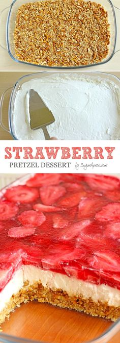 Pretzel Dessert This Strawberry Pretzel Dessert just begging you to make it for your next summer picnic or bbq to serve.This Strawberry Pretzel Dessert just begging you to make it for your next summer picnic or bbq to serve. Pretzel Desserts, 13 Desserts, Delicious Desserts, Dessert Recipes, Yummy Food, Cake Recipes, Party Recipes, Recipes Dinner, Dinner Ideas