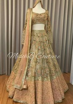 Nudes n Peaches, bridal lehenga for our gorgeous girl ➡ for more pictures and details, also our beautiful bride who looks absolutely… Indian Wedding Gowns, Indian Gowns Dresses, Indian Bridal Outfits, Indian Fashion Dresses, Dress Indian Style, Indian Designer Outfits, Wedding Lehnga, Wedding Hijab, Wedding Dresses