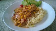 Tupun tupa: Broilerinleikkeet maissi-ananaskastikkeella ja rii...