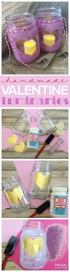 Homemade Valentine Luminaries Mason Jar Craft - Easy and fun mason jar craft for those of all ages. Valentine Craft on Frugal Coupon Living. (scheduled via http://www.tailwindapp.com?utm_source=pinterest&utm_medium=twpin&utm_content=post28118746&utm_campaign=scheduler_attribution)