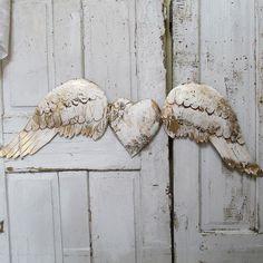 Large metal angel wings w/ heart wall hanging by AnitaSperoDesign
