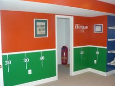 Paint your walls your 2 tema colors and apply our kit decals to create your own foootball room. http://www.vinyl-decals.com/football_field_wall_decal_1-_football_field_wall1.php?cat=105