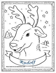Rudolf The Red Nosed Reindeer Coloring Page Printout More Fun Holiday Activities At SantaTimes