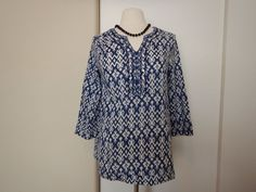 BLUE by Saks Fifth Avenue 3/4 Sleeve V-Neck Embellished Top Shirt Size S/P #SaksFifthAvenue #Blouse #Casual