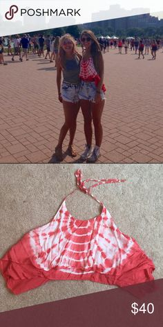 Urban Outfitters Tie dye halter top w/ open back Staring at the Stars by Urban Outfitters orange tie dye halter with open back. Urban Outfitters Tops Crop Tops
