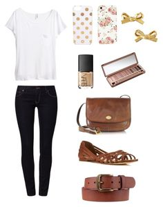 """""""Simple outfit for school • teens • casual • simple • cute"""" by heyitsavee ❤ liked on Polyvore featuring Calvin Klein Jeans, H&M, DC Shoes, Miss Selfridge, The Bridge, NARS Cosmetics, Urban Decay, Kate Spade and Retrò"""