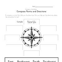 Compass Rose Handwriting Worksheet for Lower Elementary