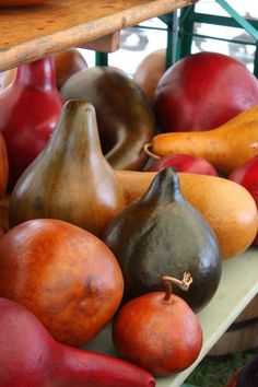 gourds ( love the colors, maybe use rit dye and clear sealant for variety)