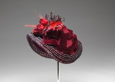 Bonnet, Date: 1883, Culture: French, Medium: silk, beads, feathers, wire