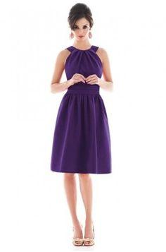 Purple Halter Cocktail Length Bridesmaid Dress G237 #celeb16 #bridesmaiddresses$59.99