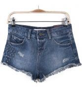 Blue Bleached Rivet Fringe Denim Shorts $31.97