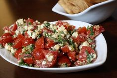 Cherry tomato and feta dip.  Serve with pita chips.