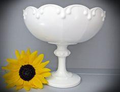 Dish Bowl Milk Glass Pedestal Compote White