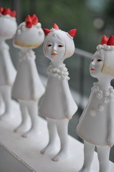 """Tamayo Konishi (小西珠代). """"女の子、であること"""", loosely translated as """"Being a girl"""". Sculpture.  white and red"""