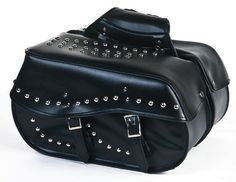 TWO PIECE PVC SADDLEBAG W/STUDS 4 POCKETS ZIP OFF