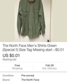 1cent start with free ship! サイズがわからないので1セントからスタートです! http://losangelesseller85.blogspot.com/2016/02/the-north-face-mens-shirts-green.html?m=1