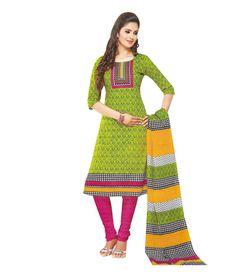 Tantalizing Green & Pink Cotton Salwar Kameez - Unstitched
