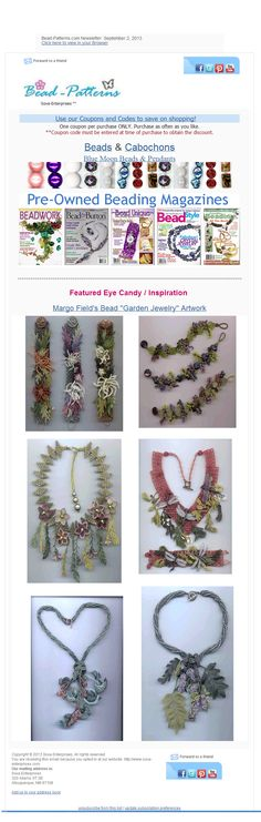 Bead-Patterns.com Newsletter features FREE beading patterns and tutorials and EyeCandy. Check them out!