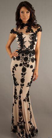 Floor Length Lace Embellished Dress