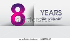 eight years Anniversary celebration logo, flat design isolated on white background, vector elements for banner, invitation card for 8th birthday party