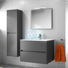 Mueble de baño NOJA Salgar 70 cm gris mate con LAVABO 18366 - Ofertas Muebles de Baño Baratos - Muebles de Baño Cuarto de Baño.com