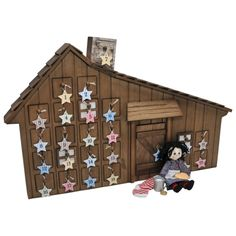 """Little House on Prairie American Wooden Advent Calendar+Accessories for 18"""" Girl Dolls, Info Cards & Quotes From Laura Ingalls!"" #littlecabin"
