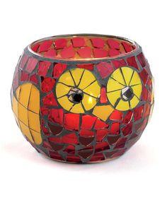 mosaic owl candle holder