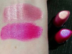 Gorgeous dupchrome lipsticks for less than $1! These are the Wet n Wild Silk Finish lipsticks in Dark Pink Frost and Fuchsia with Blue Pearl