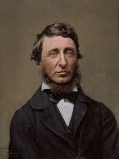 Thoreau, 1856 | Henry David Thoreau (July 12, 1817 – May 6, 1862) American author, poet, philosopher, polymath, abolitionist, naturalist, tax resister, development critic, surveyor, historian, and leading transcendentalist. Best known for book Walden, a reflection on simple living in natural surroundings, and essay Resistance to Civil Government (also known as Civil Disobedience), an argument for disobedience to an unjust state. Colored by Dana Keller